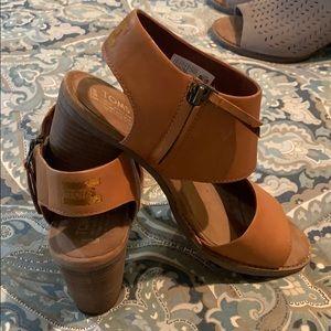 TOMS cognac leather sandals
